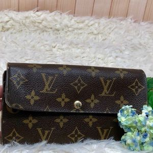 Auth Louis Vuitton Monogram Sarah Long Wallet